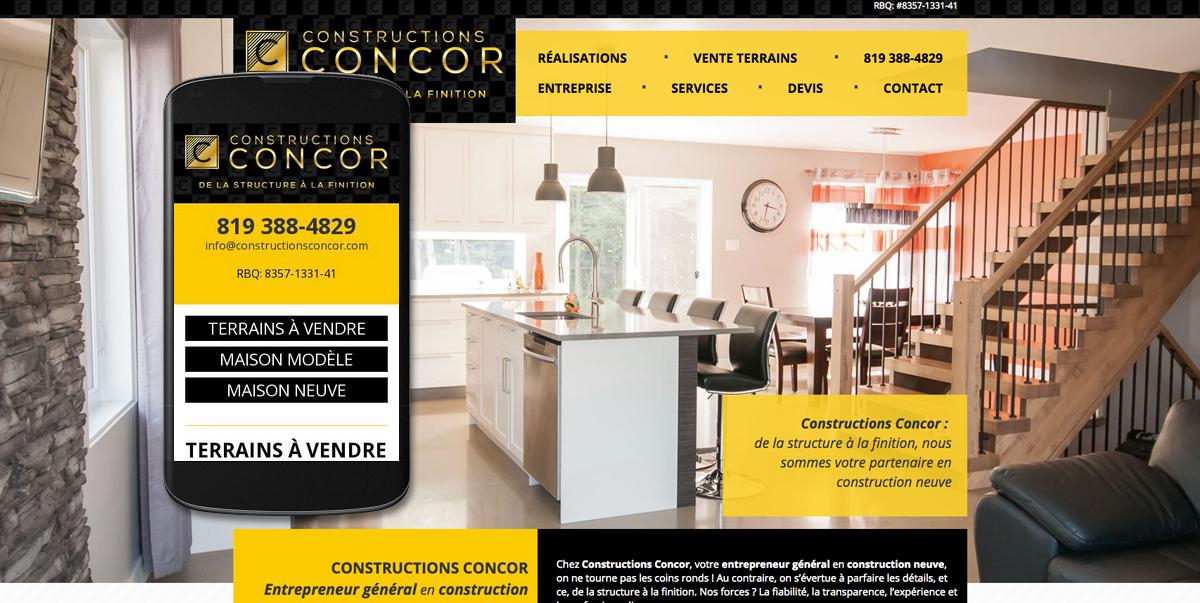 Site Web et site Web mobile Constructions Concor