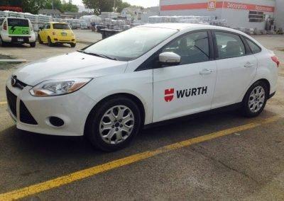 Lettrage partiel en vinyle du véhicule Wurth