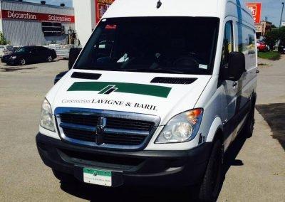 Lettrage de camionnette – Construction Lavigne & Baril