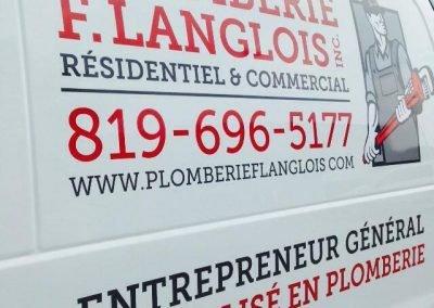 Lettrage de la camionnette de Plomberie F. Langlois