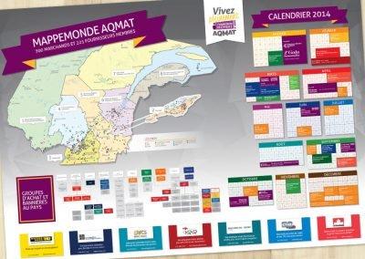 Affiche Mappemonde AQMAT imprimée et calendrier
