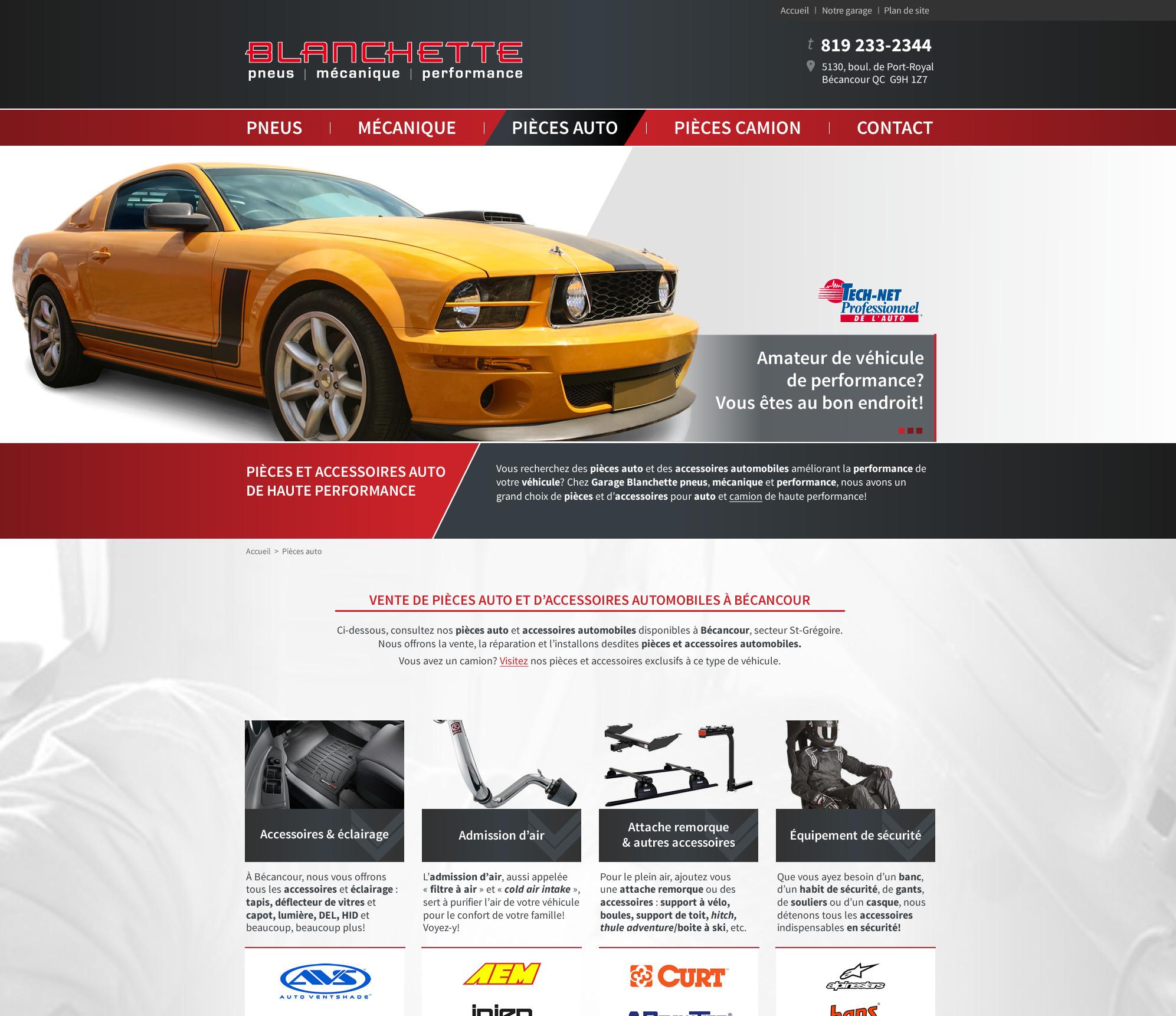 Un site web pour le garage blanchette pmp b cancour duo for Site internet pour garage automobile