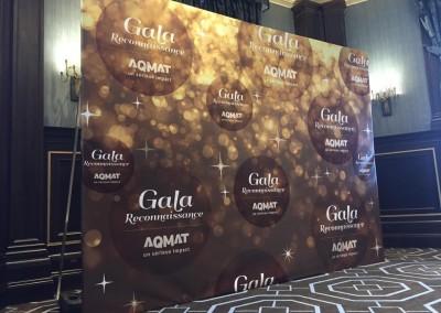 Affichage grand format & lettrage – Gala AQMAT 2015