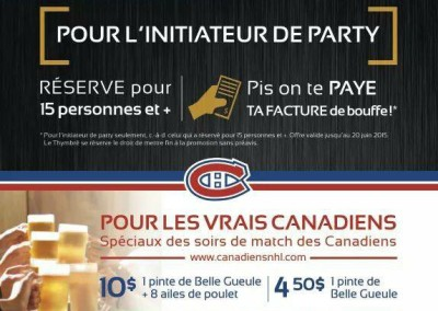 Flyer promotionnel – Restaurant Le Thymbré à Nicolet