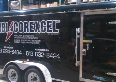 Lettrage du cube de l'entreprise MBI Corexcel