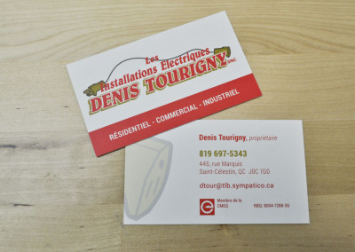 Carte d'affaires – Les installations électriques Denis Tourigny