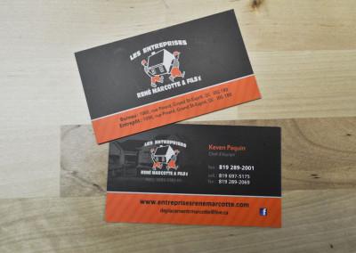 Carte d'affaires pour Les entreprises René Marcotte et fils