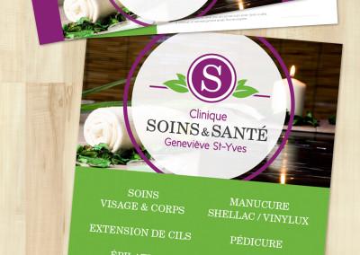 Imprimés pour la Clinique Soins et Santé Geneviève St-Yves