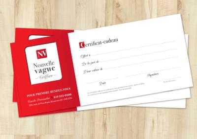 Certificat-cadeau imprimé – Nouvelle vague coiffure