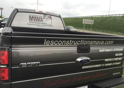 Lettrage du véhicule des Constructions Mava