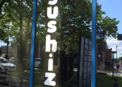 Vinyle sur vitrine commerciale pour le restaurant Sushizo