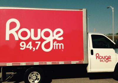 Habillage du cube de Rouge FM Mauricie