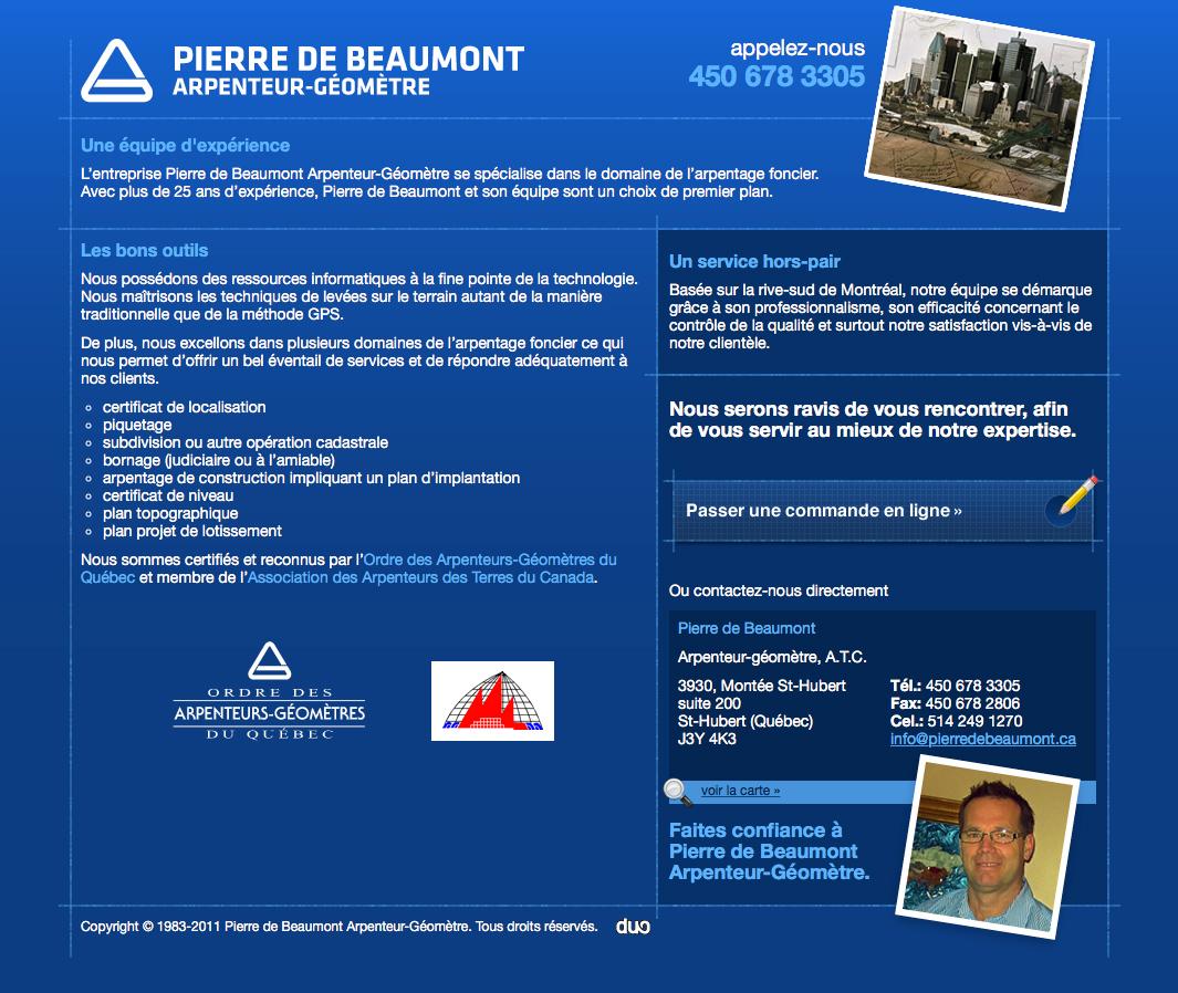 De Beaumont - Arpenteur-Géomètre - Vieux site Web