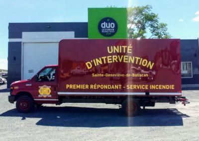 Lettrage d'un camion pour Service Incendie de Sainte-Geneviève-de-Batiscan