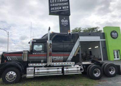 Lettrage de camion pour PSM Transport