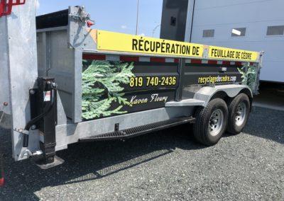 Lettrage de remorque pour Recyclage de cèdre Kaven Fleury
