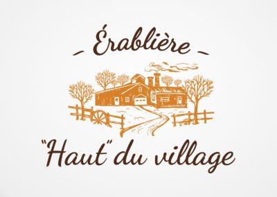 Conception de logo, cartes d'affaires, affiche et autocollants – Érablière Haut du Village