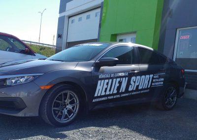 Lettrage de deux véhicules – Helie'n Sport