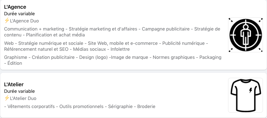 Section Services Page entreprise Duo